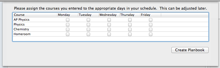 Assign your classes to the days you teach